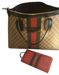 Gucci Tote in Red w/ blue and red stripe