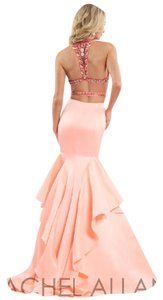 Rachel Allan Prom 2 Piece Mermaid Ruffled Skirt Matte Satin Dress