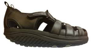 Skechers Shape Up Leather Black Sandals