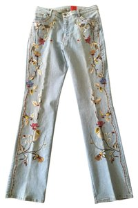 Very Vera Embroidered Medium Wash Sequins Beads Boot Cut Jeans-Medium Wash