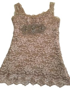 Ann Ferriday Lace Pink Top Champagne