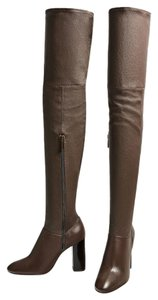 Zara Over The Knee Thigh High Taupe Taupe Leather Size 6.5 brown Boots
