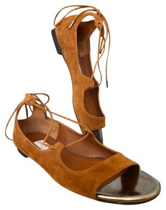 Jimmy Choo Suede Vernie Lace Up Tan Sandals