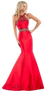 Rachel Allan Prom 2 Piece Mermaid Mikado Beading Dress