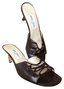 Jimmy Choo Leather Criss Cross Brown Sandals