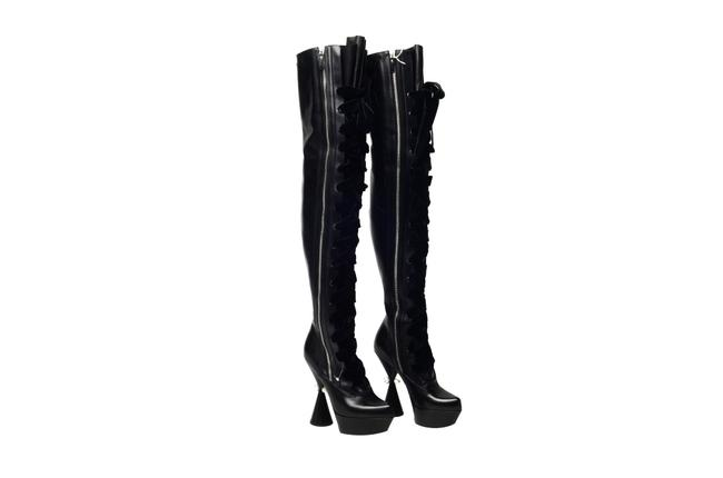 Item - Black Over The Knee Lace Up Boots/Booties Size US 8 Regular (M, B)