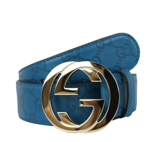 183cac72697 Gucci Teal Guccissima Leather 4618 W Interlocking G Buckle 114876 90 ...