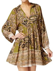 Free People short dress green Bellsleeve Deepv Printed Boho Olive on Tradesy