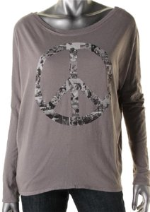 Chaser Heather Peace Boho Hippie Top Gray