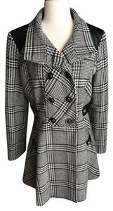 Guess Houndstooth Double Breasted A-line Pea Coat