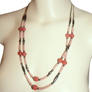Other Vintage Native American Sterling Silver & Rose Quartz Double Strand 24