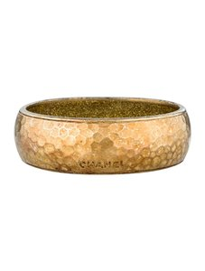 Chanel Chanel Bangle in Burnished Hammered Gold