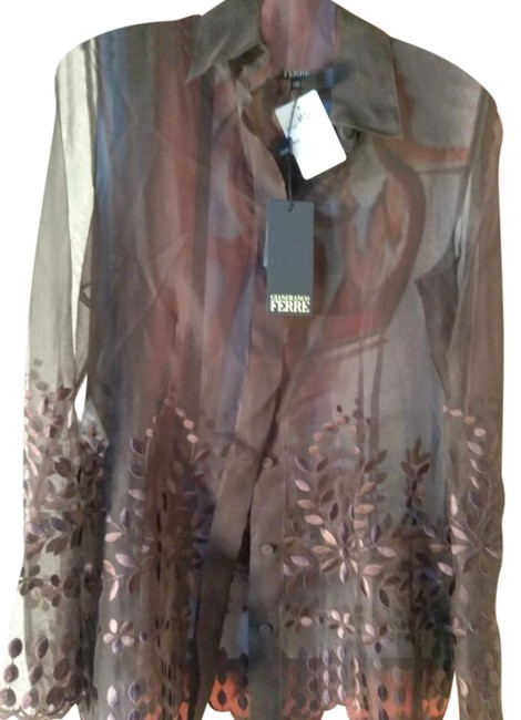 Item - Brown Silk Sheer Embroidered Made In Italy Blouse Size 6 (S)
