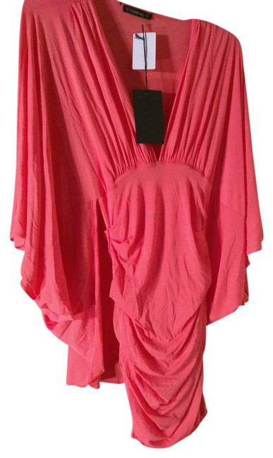 Item - Coral 38 Fr Made In France with Voluminous Sleeve Short Cocktail Dress Size 8 (M)