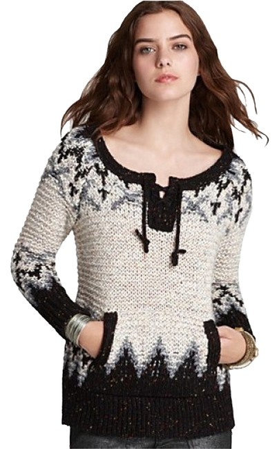 Free People Crewneck String Tie At Collar Ribbed Cuffs And Hem Front Pouch Pocket Sweater