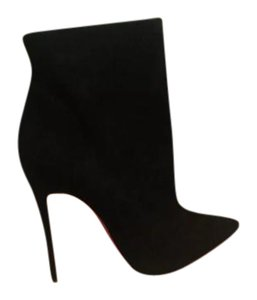 Christian Louboutin Pointed Toe Suede Stiletto Ankle Black Boots