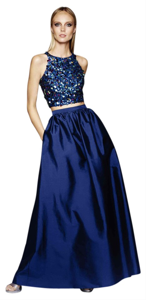 Adrianna Papell Twilight Blue Embellished Crop Two-piece Ballgown Long Formal Dress Size 4 (S)