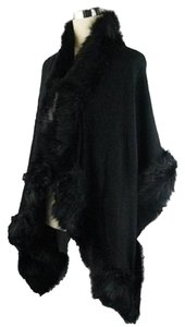 Other Black Fur Trim Shawl Wrap Cape