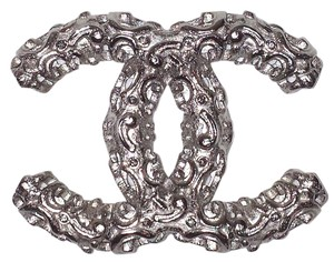 Chanel Crystal CC Logo Brooch Floral Flower Scroll Cutout Pin 13B Silver Bag