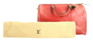 Louis Vuitton Epi Speedy Epi Keepall Satchel in red