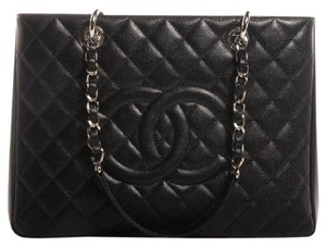Chanel Gst Grand Shopping Cc Logo Caviar Leather Tote in Black