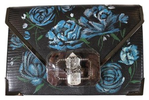 Marchesa Lizard Leather Handbag Black Clutch