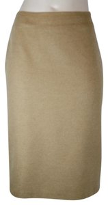Jil Sander Pencil Cashmere Fitted Skirt CAMEL BROWN