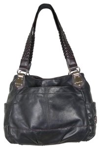 Tignanello Braided Leather Satchel in Black