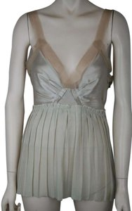 Lanvin Champagne Nude Beige Silk Pleated Top CHAMPAGNE BEIGE