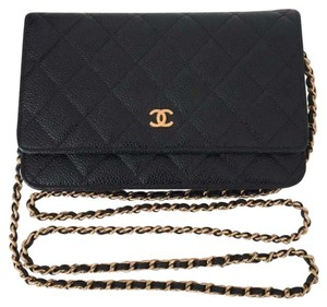 Chanel Woc Wallet On Chain Gold Caviar Cross Body Bag