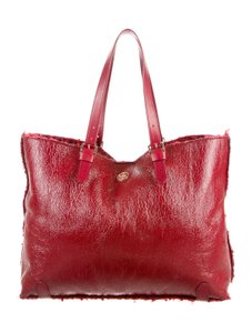 Tory Burch Large Patent Leather Shearling Tote in Red