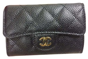 Chanel Chanel Card Case Black Caviar Leather Wallet Gold Hardware