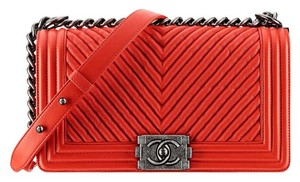 Chanel Leather Silver Chevron Shoulder Bag