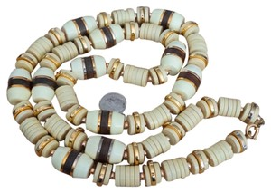 Vintage Spectacular Vintage Estate Ivory Colored Plastic & Wood Runway Fashion Necklace