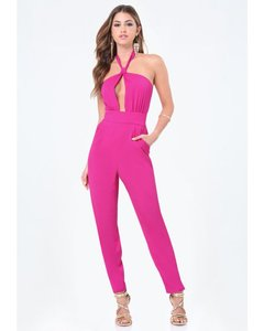 bebe Jumpsuit Straight Pants fuscia