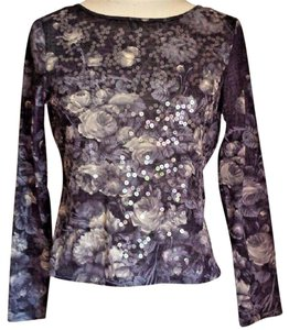 Jones New York Floral Sparkle Casual Top Gray