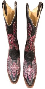 Coral Vintage Boots Black with Pink Design Boots