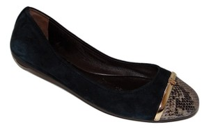 Tory Burch Pacey Cap Toe Skimmer Suedesnake Black Flats