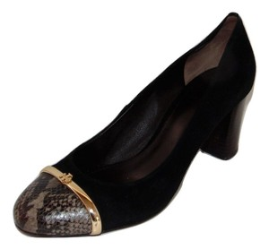 Tory Burch Pacey Cap Toe Suedesnake Black Pumps