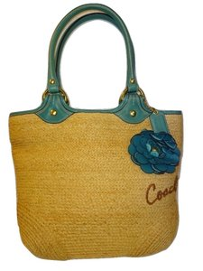 Coach Tote in Natural & Teal Blue