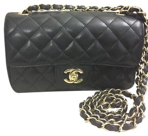 Chanel Caviar Leather Goldhardware Mini Flap Cross Body Bag