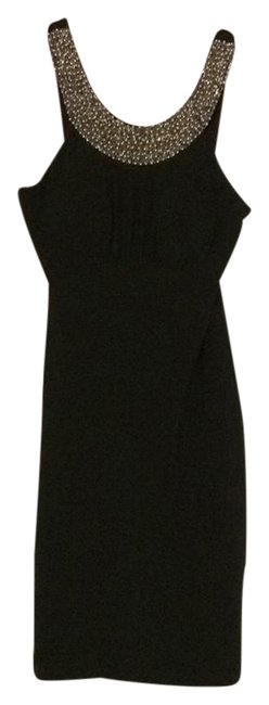 Item - Black with Gold Beaded Neckline Db 001 Mid-length Night Out Dress Size 6 (S)