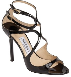 Jimmy Choo Lang Strappy Patent Zipper Black Sandals