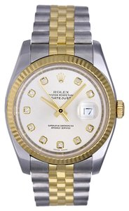 Rolex Rolex Datejust Stainless Steel and 18K Gold Custom Diamond Men's Watch