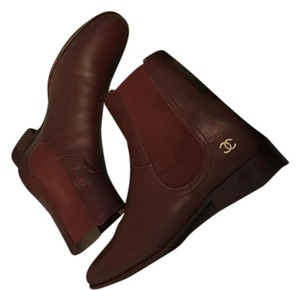 Chanel Calfskin Leather Riding Chelsea burgundy Boots