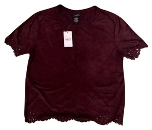 Rue 21 Velvet Cutout Hipster Crew Neck Square Top Maroon