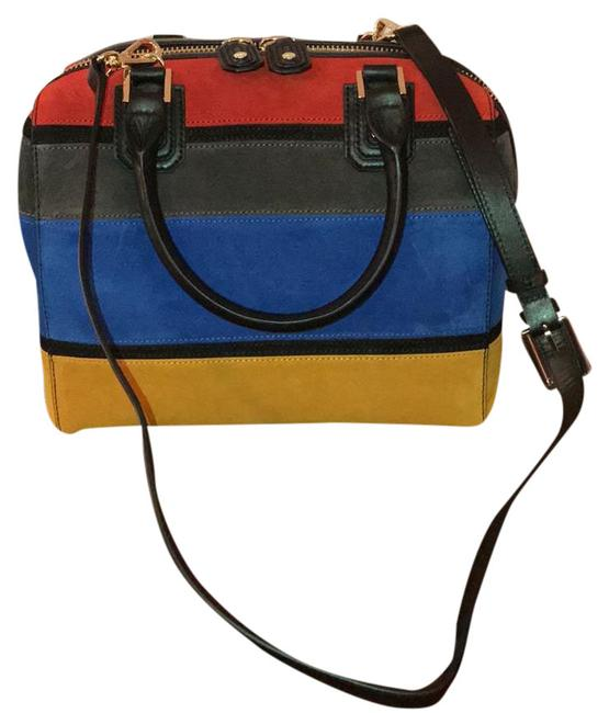 Item - Horizontal Stripe Black Red Grey Blue Yelllow Leather and Suede Satchel