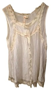 Adiva Vintage Tank Lace Button Down Sheer Top Off White