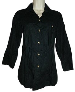 Liz Baker Petite Linen Blend 3/4 Sleeve Blouse Petite Medium Button Down Shirt Black
