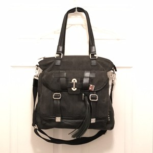 L.A.M.B. New/nwot Leather Canvas Satchel Tote in Black